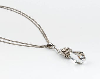 Long necklace, Swarovski crystals and chain double stainless steel.