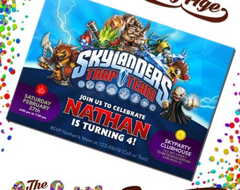 Skylanders Invitations, Skylanders Birthday, Birthday Invitation, Skylanders Party, Skylanders Invite, Skylanders Card, TCD-018
