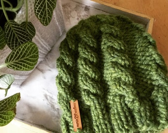 Knit Cable Beanie~ The Theuban...Greenery