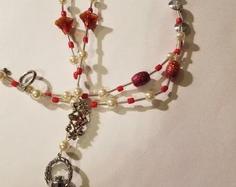 """30"""" Red Jewel & Pearl Beaded Lanyard"""