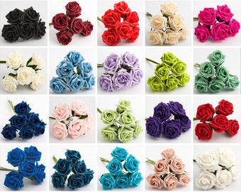 5cm Colourfast Foam Roses Bunches of 6  Wedding Centerpiece Bouquet Buttonhole Craft Decoration
