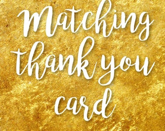 Matching thank you card, Printable Personalized thank you card