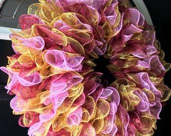 Front door wreath, summer wreath for front door, deco mesh wreath, door wreaths for summer, mesh wreath, summer door wreath, wreath