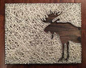 Handmade Wooden Moose String Art Sign