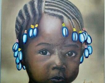 Oil Painting , Painting Art ,  Painting Gallery , AFRICAN GIRL , Wall Art , Modern Art ,Contemporary art , Original Oil Art ,Painting Artist