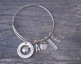 Teacher Gift -Teacher Bracelet –Teach Gift - Teaching - Teacher Jewelry- Teacher Appreciation- Perfect for Teachers and Teacher Gifts