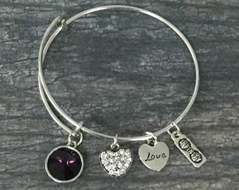 February Birthstone Bracelet, Birthstone Jewelry, FebruaryBirthstone Jewelry, Birthstone Bangle Bracelet, Perfect Birthday Gifts For Women