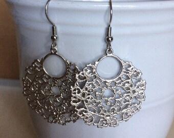 Silver filigree pendant earrings