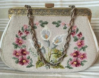Vintage wool needlepoint purse bag