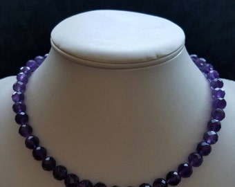 Amethyst necklace  (individual knotted)