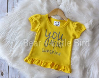 Infant or Toddler Girls You Are My Sunshine ruffle shirt yellow and grey or custom colors available baby infant toddler kids