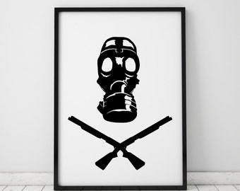 Gas Mask Print Post Apocalyptic Art Fallout Stalker Instant Download Printable Art Prints Wall Art Wall Decor Black and White Monochrome