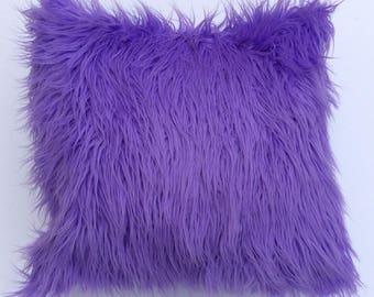 Purple faux fur Pillow- Lavender faux Fur Pillow - Neutral Pillow -  Throw Pillow Cover -  Toss  Pillow
