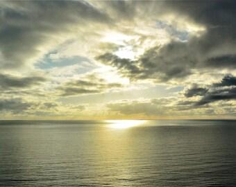 ART MOUNT PRINT - Sunrise horizon over the Pacific Ocean, Cairns Queensland Australia