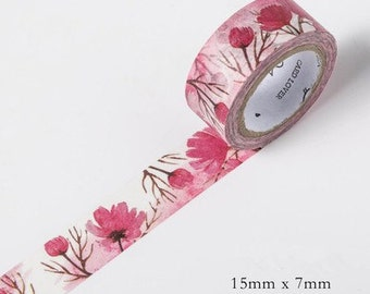 Pink Poppy Floral Japanese Washi Tape-Season's Color,Masking Tape, Stationery,Planner Sticker,Diary