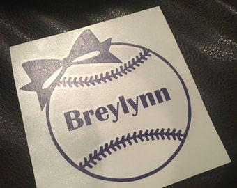 Softball with Name, Helmet Deal, Car Decal, Truck Decal, Softball Mom, Softball Dad, Water Bottle, Tumbler, YETI, RTIC, GIfts, Baseball