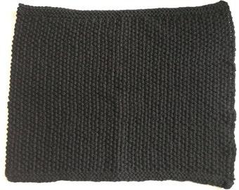 Black Wool Rug, 100% Wool, 54cmx67cm, Moss Stitch