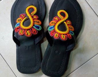 maasai sandals,beaded sandals,leather sandals,African sandals,Gift for her