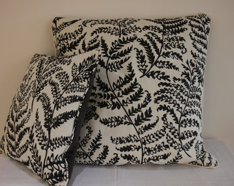 """Large Scatter Cushion Cover  24"""" x 24""""  Fabric is Wild Fern and Paris by Clarke and Clarke in Black and White"""
