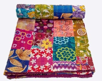 Cotton Multi Patchwork Reversible Bedspread kantha quilt throw/baby Quilt/coverlet/Bed-cover,Blanket,Throw,Kantha Quilt,King size Queen size