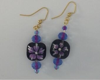 Custom Hand Made Earrings Deep Purple Violet Glass Painted Bead