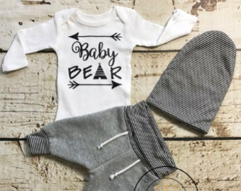 Baby Boy Coming Home Outfit,baby joggers, newborn sweatpants, baby bear,unisex, slouchy baby beanie
