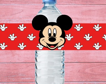 80% OFF SALE Mickey Mouse Water Bottle Label mickey mouse party mickey birthday mickey mouse water mickey water bottle mickey bottle label
