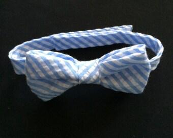 Boys Blue and White Striped Bow Tie, Little Boys Blue and White Striped Bowtie, Toddler Striped Bowtie, Carolina Blue Bowtie, Seersucker Tie