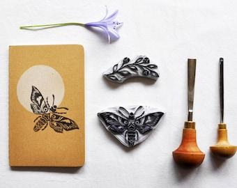 Hand printed moleskine art journal/notebook moth moon