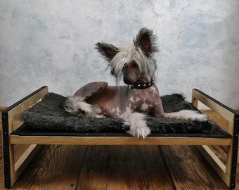 Modern handmade leather dog bed
