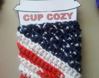 Crochet coffee cup cozy/mug cozy/housewarming present/coffee cup cozy sleeve/crochet coffee cozy/coffee sleeve/cup cozy/4th of July