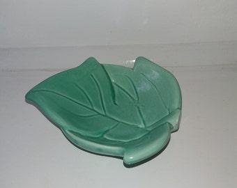 Devon Ceramics turquoise leaf trinket dish