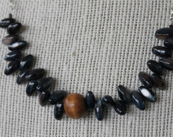 Wooden Bead and Blue Shell Necklace