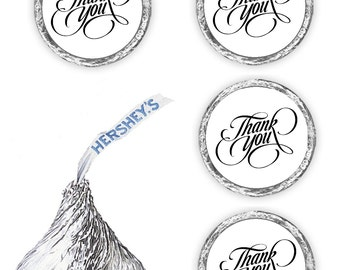 108 Thank you candy favors for kisses stickers decals labels or envelope seals, (candy not included)