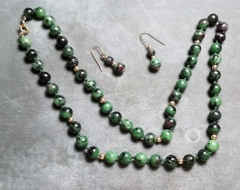 "Rubyzoisite Necklace 20"" and Earrings"