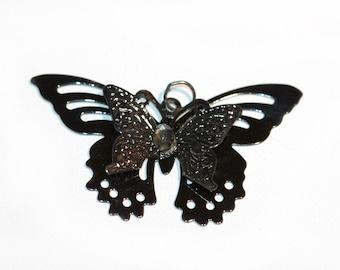 Butterfly Pendant Necklace Pendant Gunmetal Butterfly Necklace Pendant with crystal