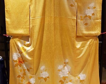 New - Shoken Silk Homongi Kimono - Golden Flowers on Gorgeous Golden Textured Silk
