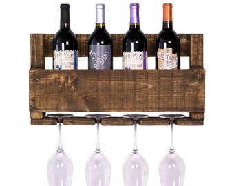 4 Bottle & Glass Reclaimed Wood Wine Rack