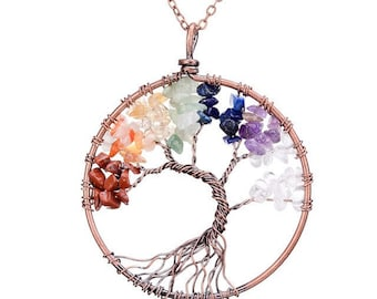 Tree-Of-Life Necklace Copper Wire Wrapped Pendant 7 Chakra Wired Copper Jewelry Turqoise Lapis Pink