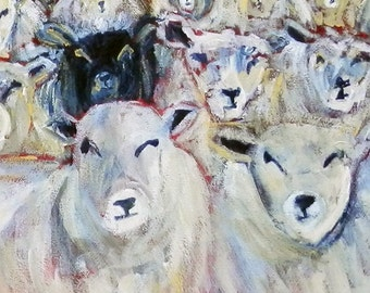 Sheep greeting card, sheep greetings card, sheep note card, sheep art, sheep image, sheep portrait, sheep blank card, flock of sheep