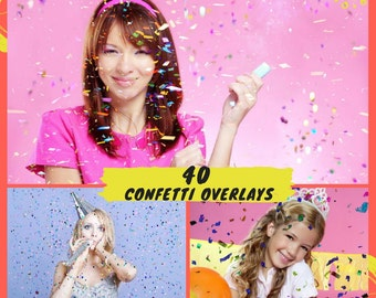 40 Confetti Overlays, Blowing Confetti Photoshop Overlays , Wedding Birthday Overlays, Glitter Photography Photo Effect Digital Backdrop