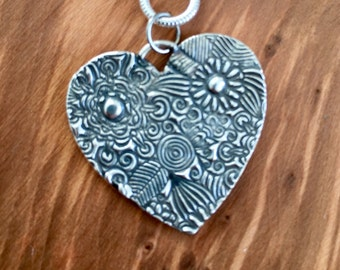 Large floral pure silver heart pendant, Pretty heart, Birthday Gift, Gift for her, Gift for wife, silver heart necklace, unique heart