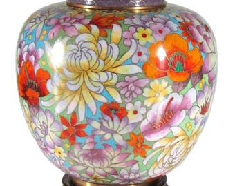 Cloisonné vase with lid height 22 cm