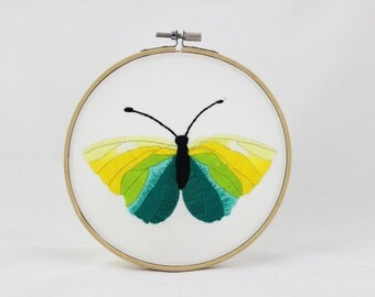 embroidery hoop picture , hoop art , hand embroidered wall hanging with a yellow and green butterfly , vivid colors
