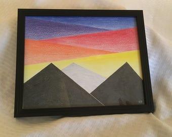 Mountain Scene - Sunset Mountain Scape Art - Minimalist Art