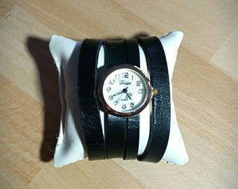 Watch black leather