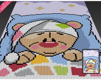 Sleepy Bear crochet blanket pattern; c2c, cross stitch; knitting; graph; pdf download; no written counts or row-by-row instructions