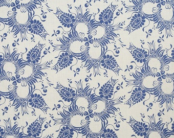 Linen Fabric By the yard Botanical Royal Blue on Ivory