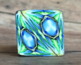 Polymer clay cane, blue, green square