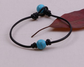 Handmade single Turquoise Beaded Bracelet, Women Leather Bangles,10mm Blue Stone Jewelry,Knotted Girls Leather Jewelry,Black Brown,B00013